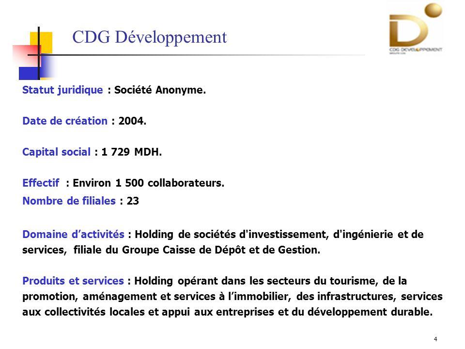 5 Filiale à 50% de CDG Développement et à 50% de la Caisse de Dépôt et de Consignations française Capital : 14 MDH Mission : Mise en place, en collaboration avec les collectivités locales des espaces multimédias dotés dun encadrement adéquat pour la formation et linitiation à linformatique et à lInternet.