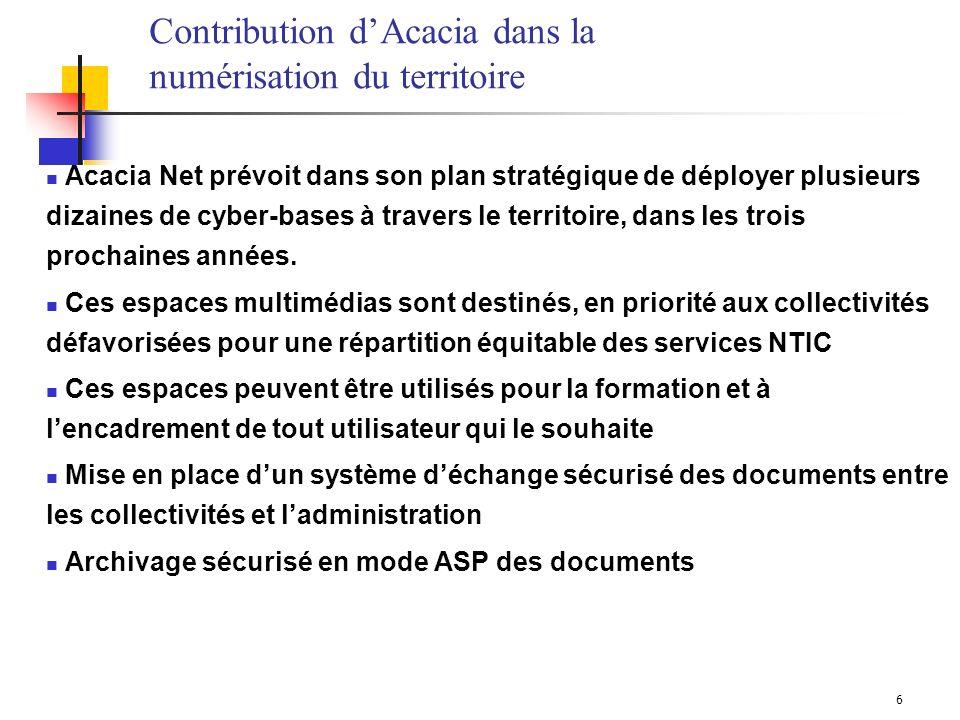 6 Acacia Net prévoit dans son plan stratégique de déployer plusieurs dizaines de cyber-bases à travers le territoire, dans les trois prochaines années.