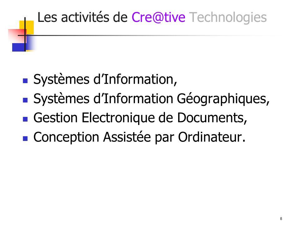 8 Les activités de Cre@tive Technologies Systèmes dInformation, Systèmes dInformation Géographiques, Gestion Electronique de Documents, Conception Assistée par Ordinateur.