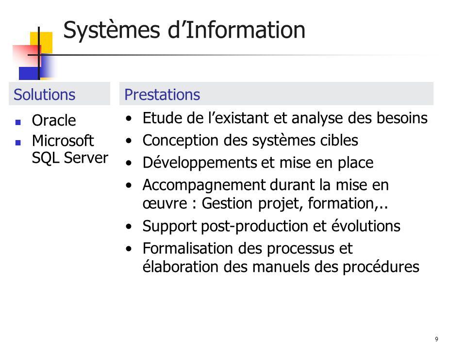 9 Systèmes dInformation Oracle Microsoft SQL Server SolutionsPrestations Etude de lexistant et analyse des besoins Conception des systèmes cibles Développements et mise en place Accompagnement durant la mise en œuvre : Gestion projet, formation,..
