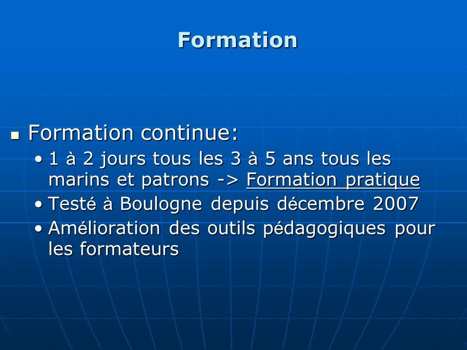 Formation Formation continue: Formation continue: 1 à 2 jours tous les 3 à 5 ans tous les marins et patrons -> Formation pratique1 à 2 jours tous les