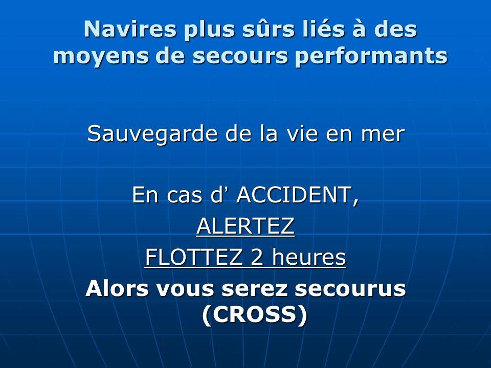 Navires plus sûrs liés à des moyens de secours performants Sauvegarde de la vie en mer En cas d ACCIDENT, ALERTEZ FLOTTEZ 2 heures Alors vous serez se