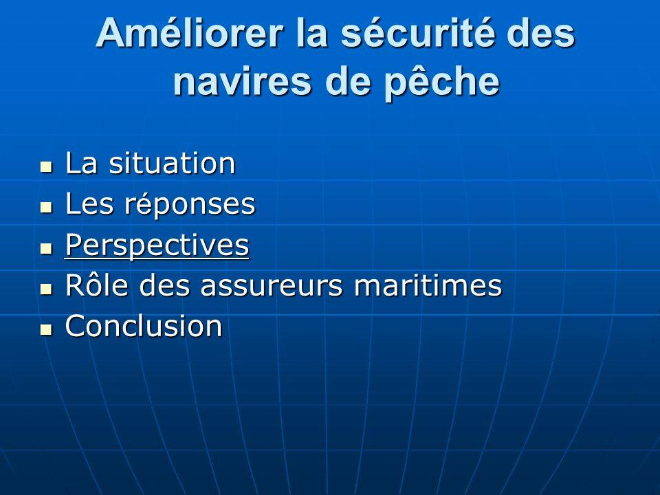 Améliorer la sécurité des navires de pêche La situation La situation Les r é ponses Les r é ponses Perspectives Perspectives Rôle des assureurs mariti