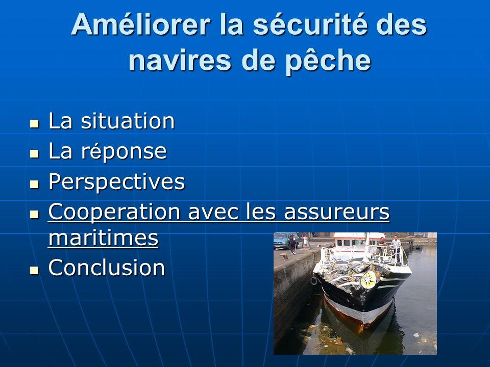 Améliorer la sécurité des navires de pêche La situation La situation La r é ponse La r é ponse Perspectives Perspectives Cooperation avec les assureur