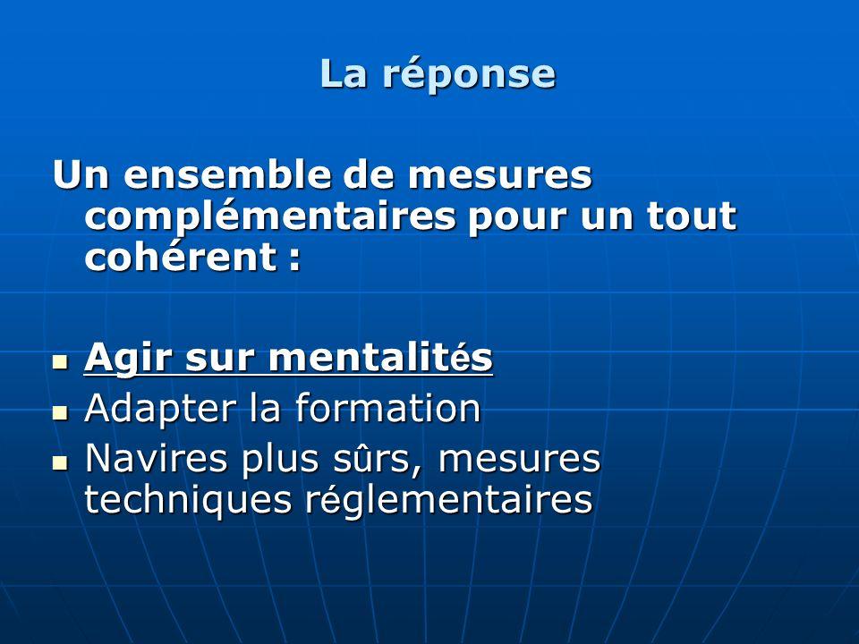 La réponse Un ensemble de mesures complémentaires pour un tout cohérent : Agir sur mentalit é s Agir sur mentalit é s Adapter la formation Adapter la