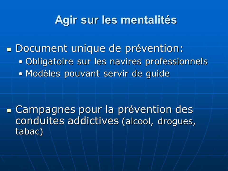 Les réponses Un ensemble de mesures complémentaires pour un tout cohérent : Agir sur les mentalités Agir sur les mentalités Formation Formation Navires plus sûrs Navires plus sûrs