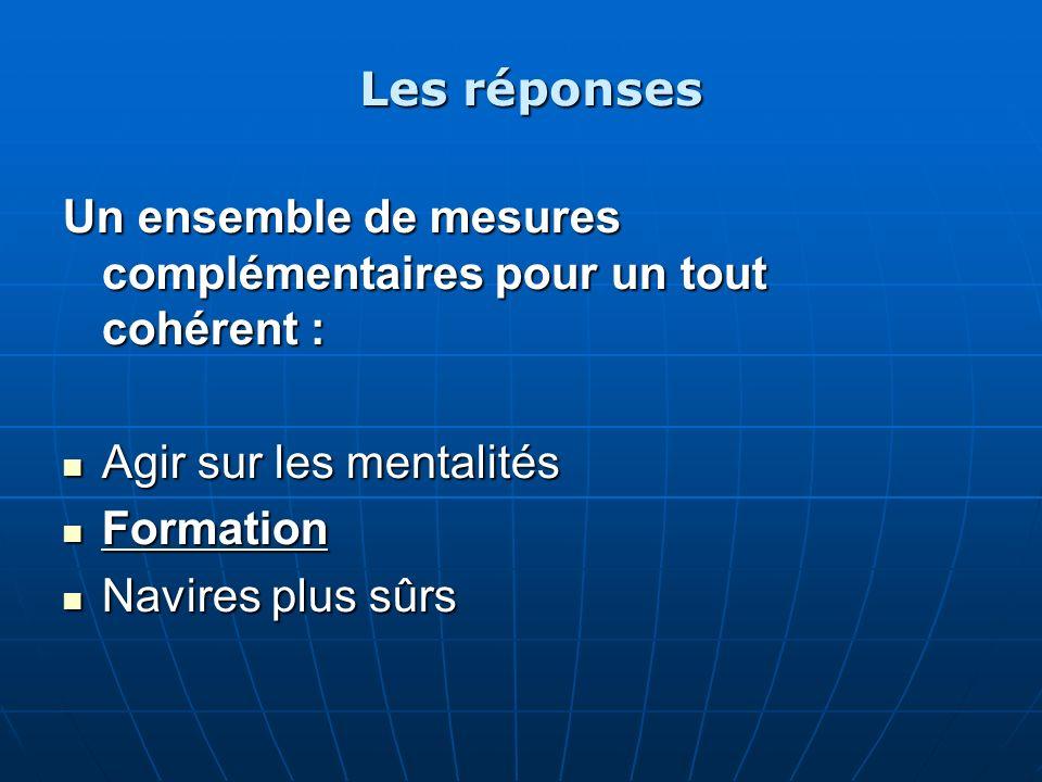 Les réponses Un ensemble de mesures complémentaires pour un tout cohérent : Agir sur les mentalités Agir sur les mentalités Formation Formation Navire