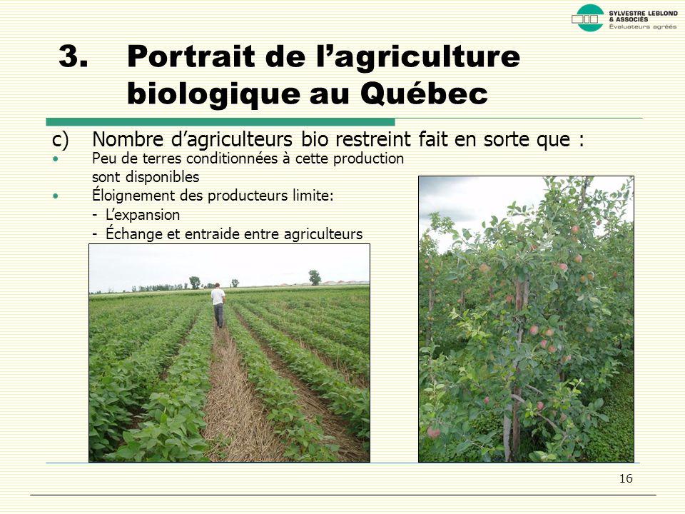 16 3.Portrait de lagriculture biologique au Québec c)Nombre dagriculteurs bio restreint fait en sorte que : Peu de terres conditionnées à cette production sont disponibles Éloignement des producteurs limite: -Lexpansion - Échange et entraide entre agriculteurs