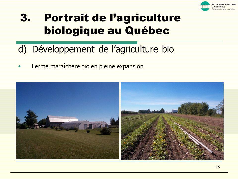 18 3.Portrait de lagriculture biologique au Québec d)Développement de lagriculture bio Ferme maraîchère bio en pleine expansion