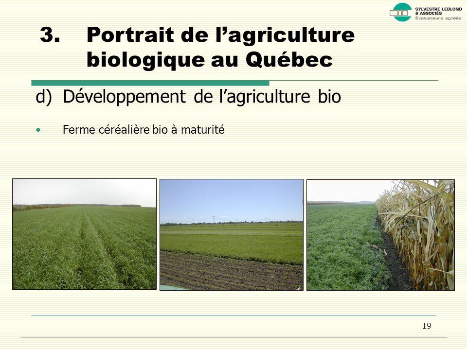 19 3.Portrait de lagriculture biologique au Québec d)Développement de lagriculture bio Ferme céréalière bio à maturité