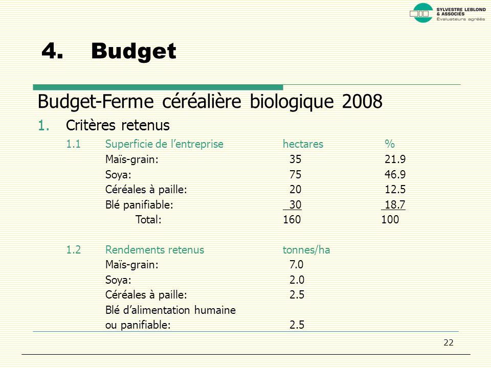 22 4.Budget Budget-Ferme céréalière biologique 2008 1.Critères retenus 1.1Superficie de lentreprisehectares % Maïs-grain: 35 21.9 Soya: 75 46.9 Céréales à paille: 20 12.5 Blé panifiable: 30 18.7 Total:160100 1.2Rendements retenustonnes/ha Maïs-grain: 7.0 Soya: 2.0 Céréales à paille: 2.5 Blé dalimentation humaine ou panifiable: 2.5