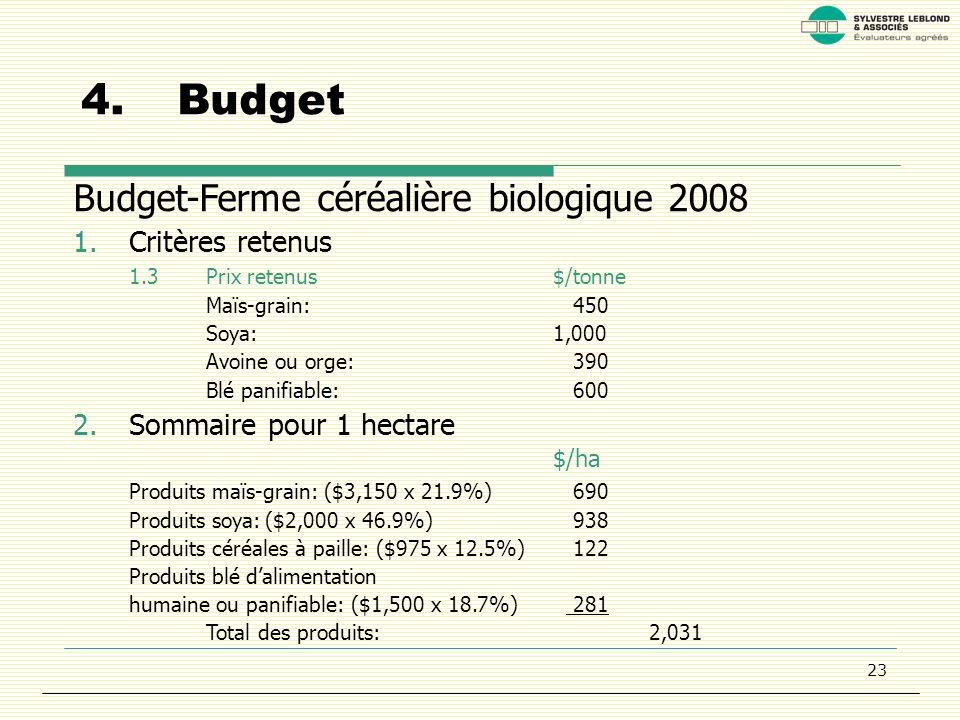 23 4.Budget Budget-Ferme céréalière biologique 2008 1.Critères retenus 1.3Prix retenus$/tonne Maïs-grain: 450 Soya:1,000 Avoine ou orge: 390 Blé panifiable: 600 2.Sommaire pour 1 hectare $/ha Produits maïs-grain: ($3,150 x 21.9%) 690 Produits soya:($2,000 x 46.9%) 938 Produits céréales à paille: ($975 x 12.5%) 122 Produits blé dalimentation humaine ou panifiable: ($1,500 x 18.7%) 281 Total des produits:2,031