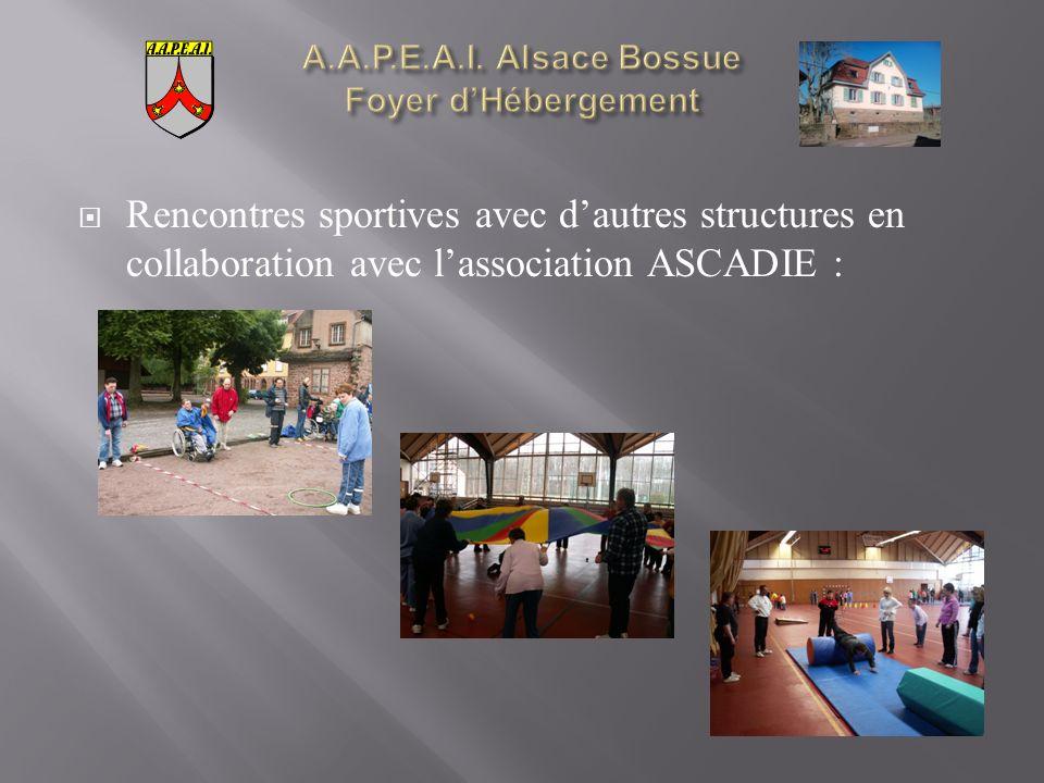 Rencontres sportives avec dautres structures en collaboration avec lassociation ASCADIE :