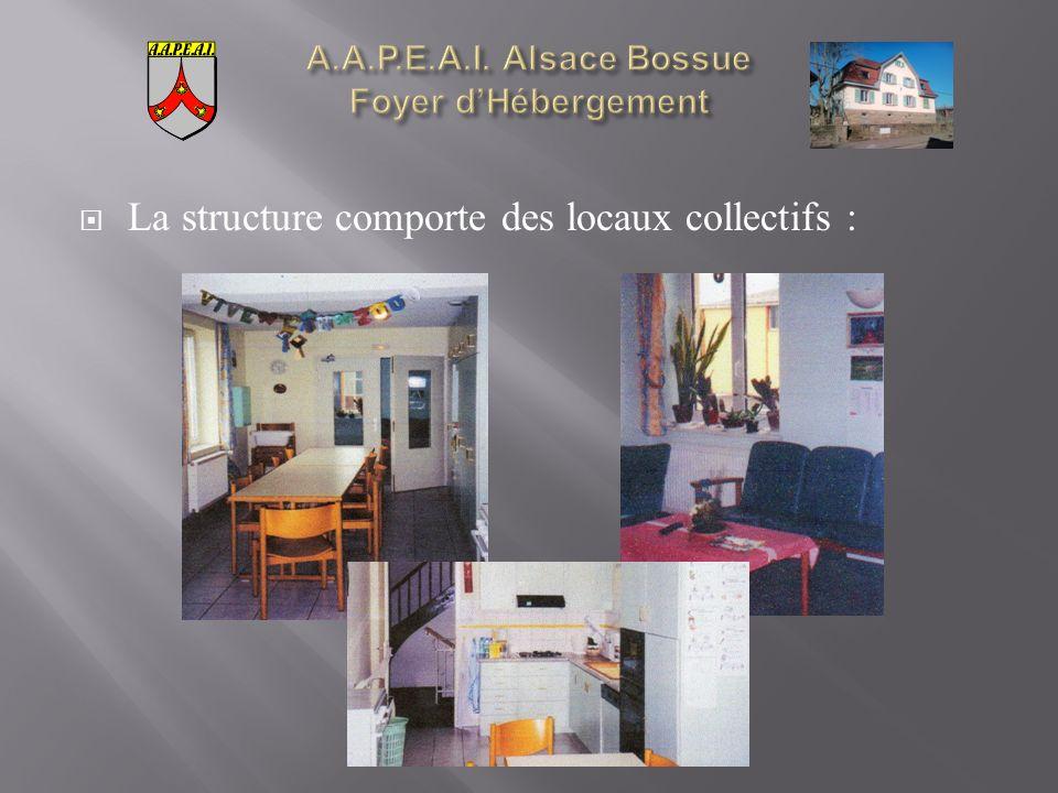 La structure comporte des locaux collectifs :