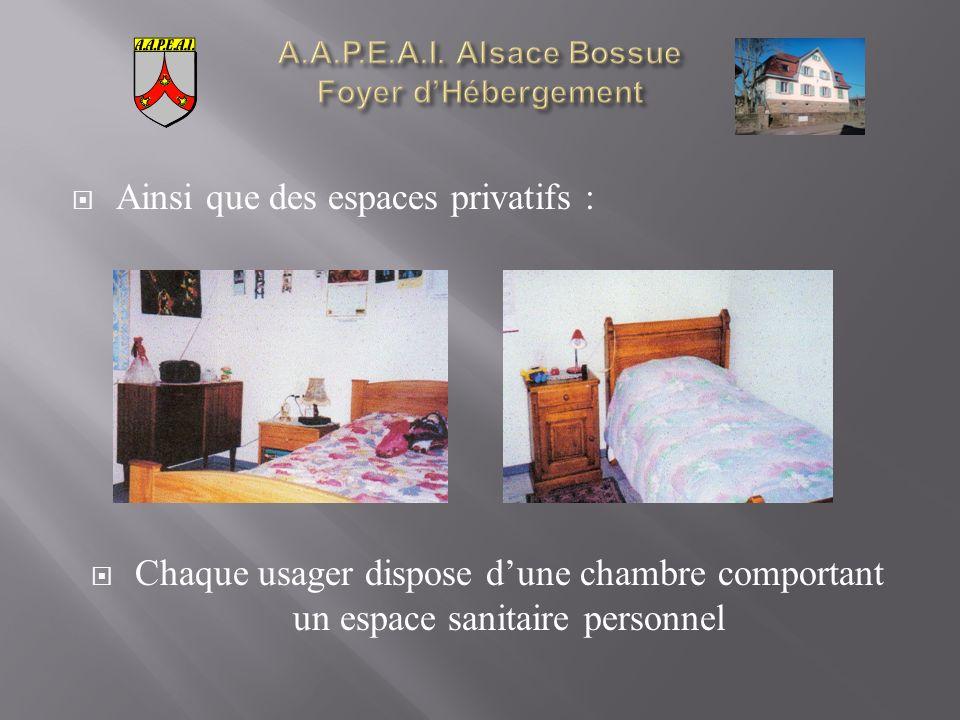 Ainsi que des espaces privatifs : Chaque usager dispose dune chambre comportant un espace sanitaire personnel