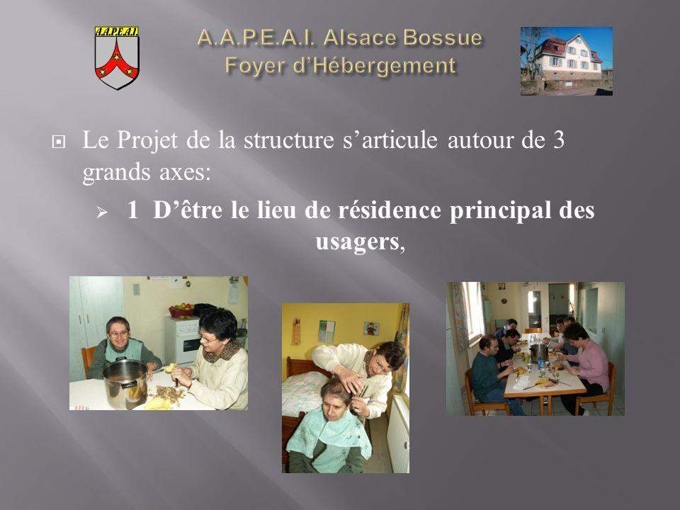 Le Projet de la structure sarticule autour de 3 grands axes: 1 Dêtre le lieu de résidence principal des usagers,