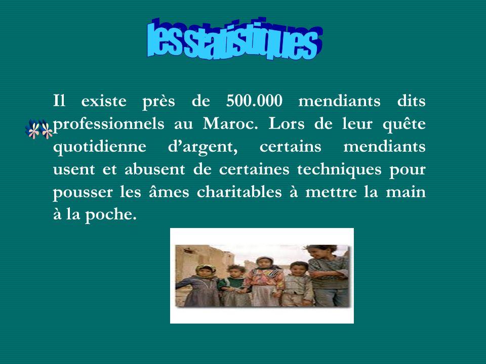 Il existe près de 500.000 mendiants dits professionnels au Maroc. Lors de leur quête quotidienne dargent, certains mendiants usent et abusent de certa