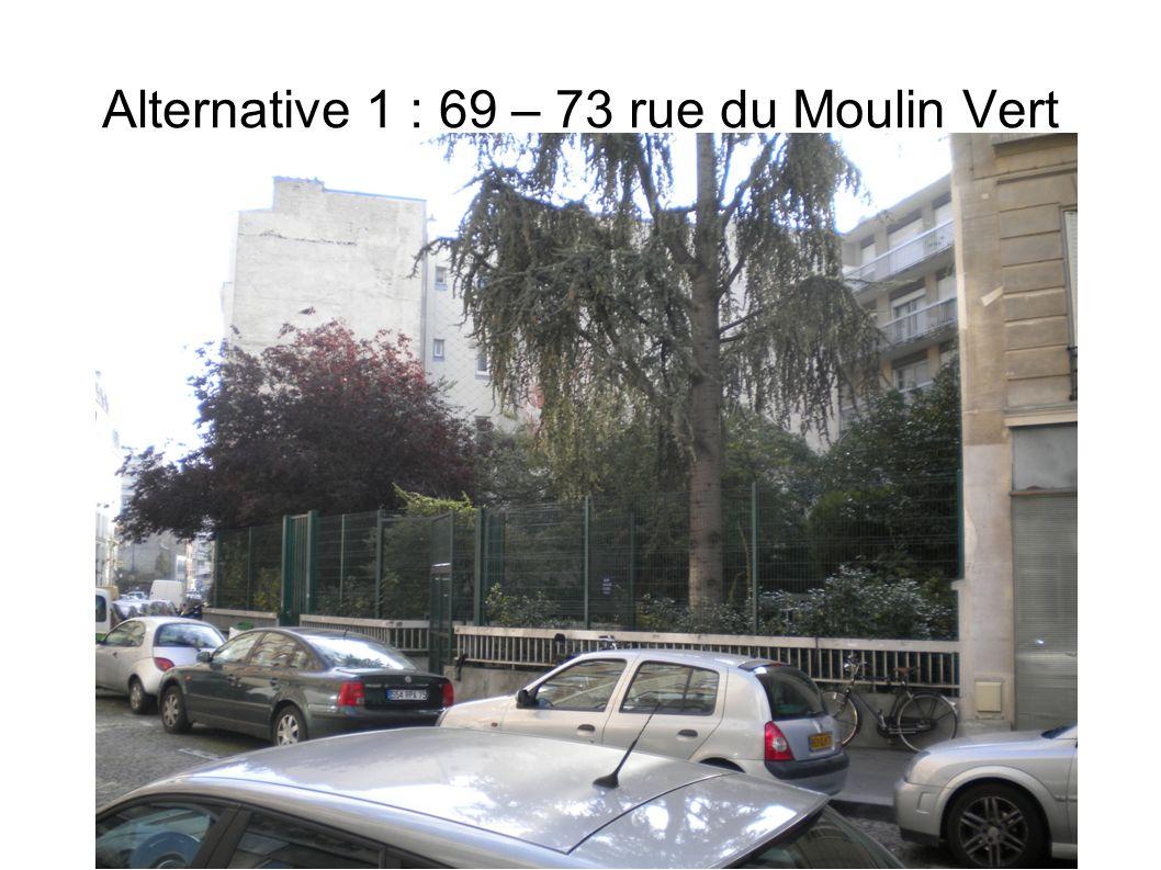 Alternative 1 : 69 – 73 rue du Moulin Vert