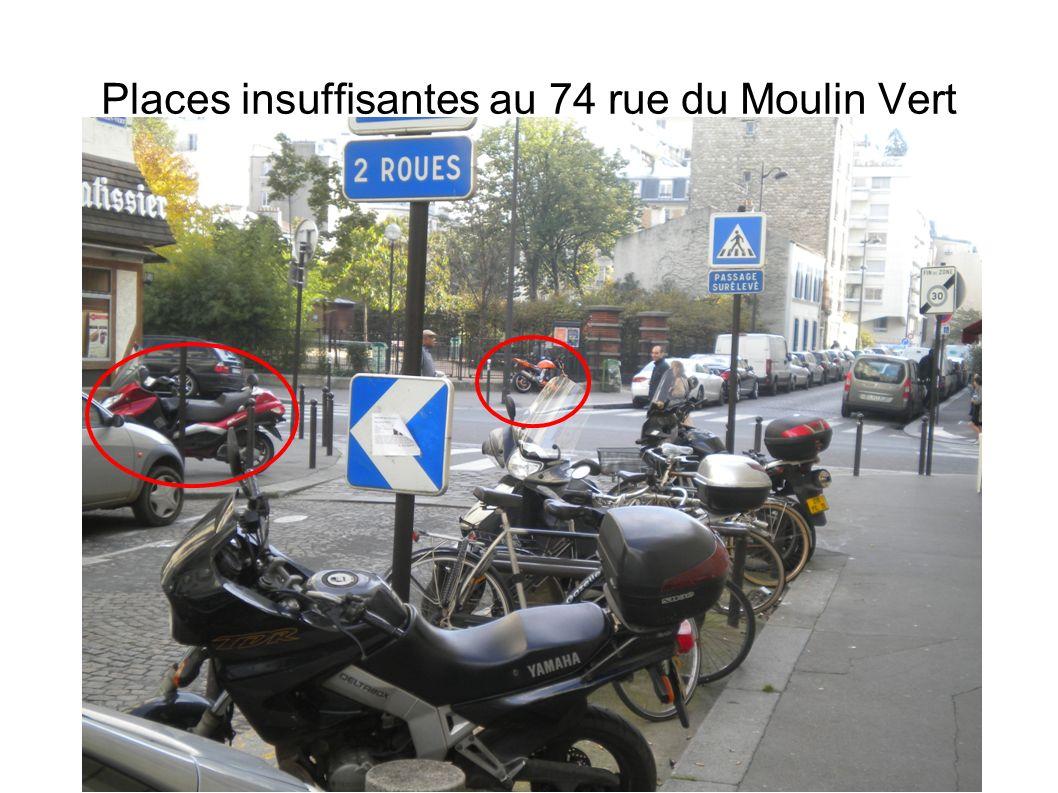 Places insuffisantes à côté de l alternative proposée au 67 rue du Moulin Vert Places insuffisantes au 84 et 90 rue du Moulin Vert qui sont en face de l alternative proposée :