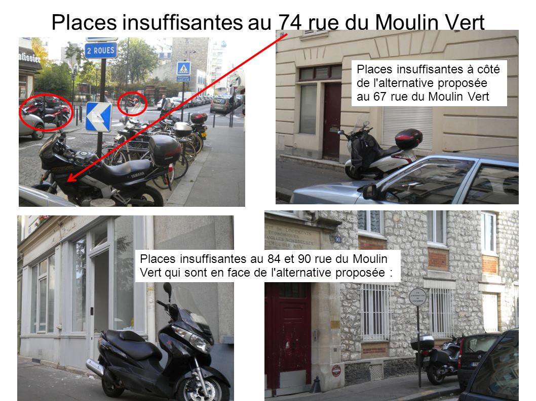 Places insuffisantes à côté de l'alternative proposée au 67 rue du Moulin Vert Places insuffisantes au 84 et 90 rue du Moulin Vert qui sont en face de