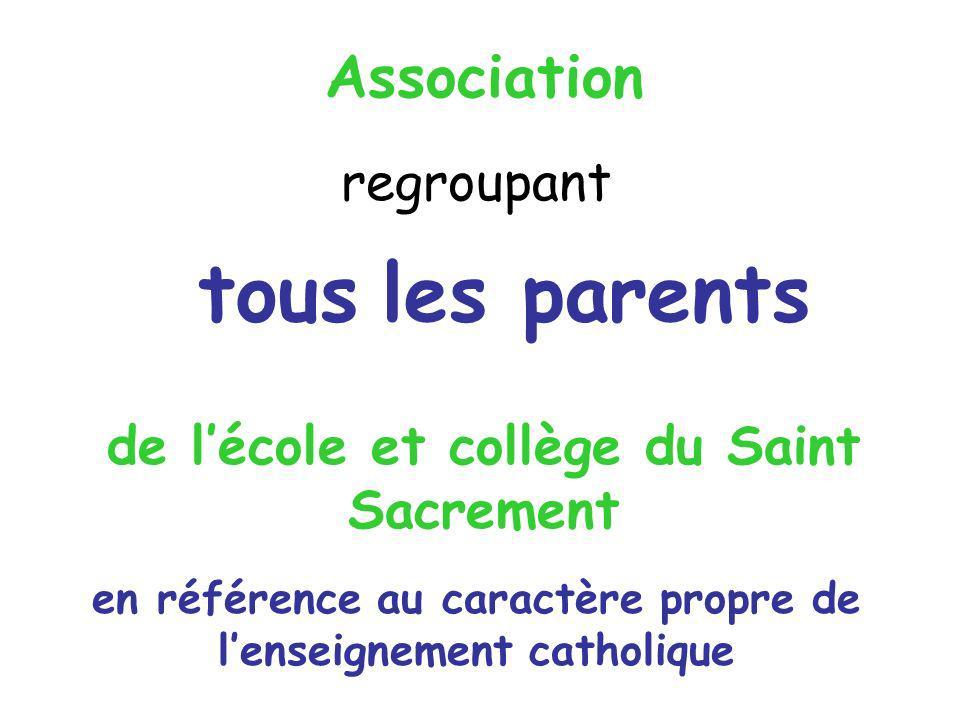 de lécole et collège du Saint Sacrement Association regroupant tous les parents en référence au caractère propre de lenseignement catholique
