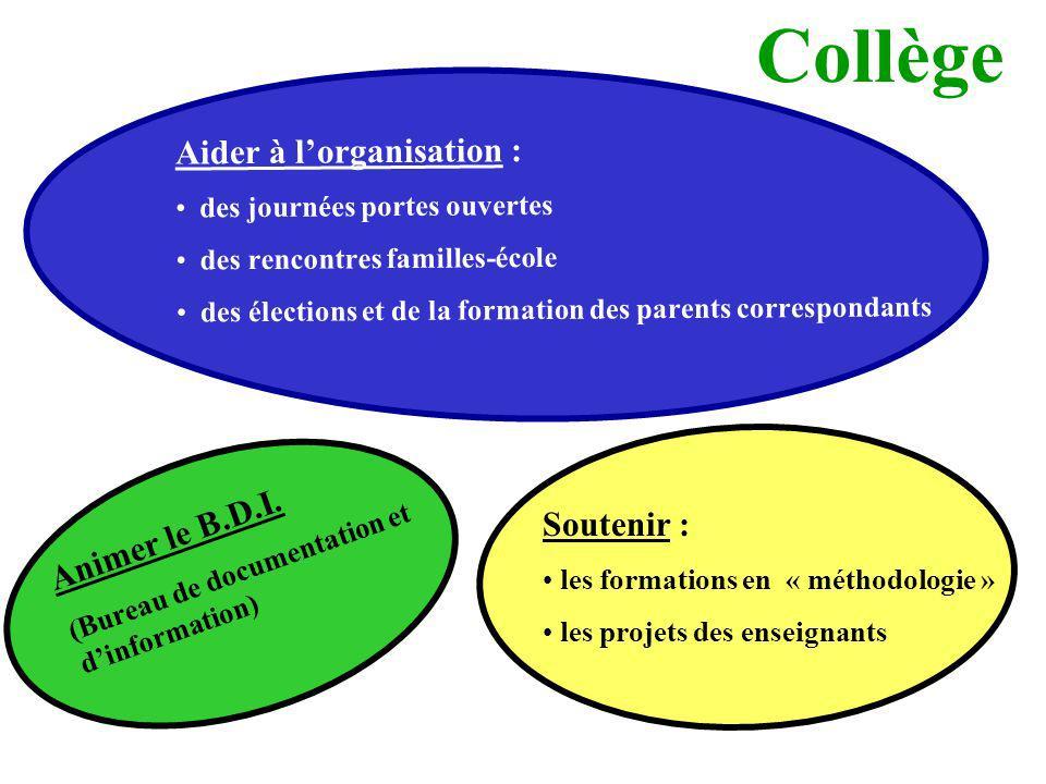 Collège Aider à lorganisation : des journées portes ouvertes des rencontres familles-école des élections et de la formation des parents correspondants