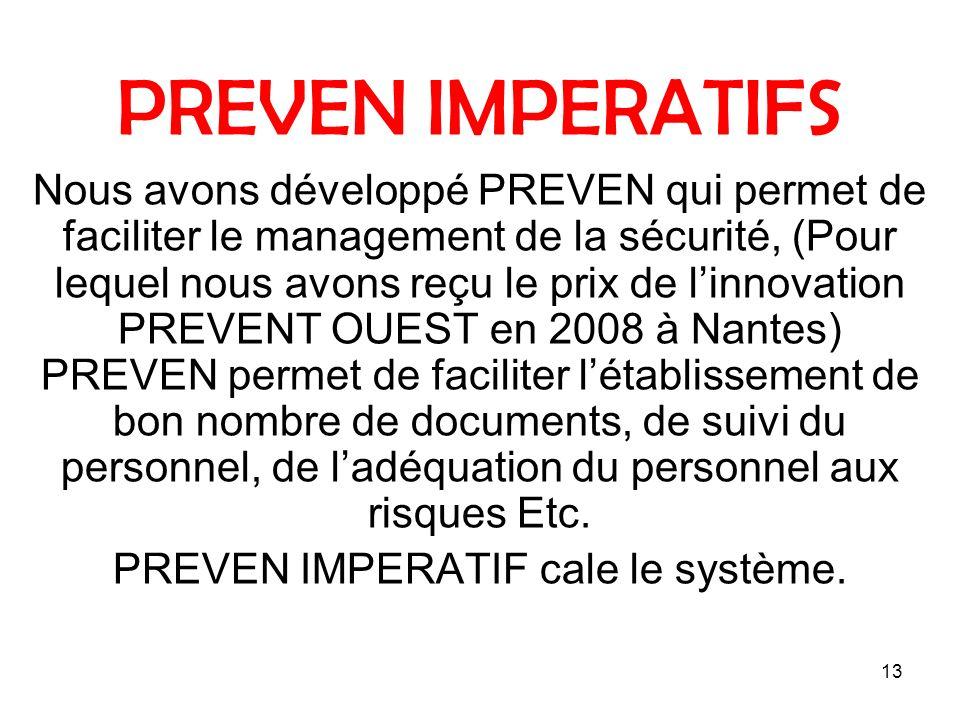 13 PREVEN IMPERATIFS Nous avons développé PREVEN qui permet de faciliter le management de la sécurité, (Pour lequel nous avons reçu le prix de linnova