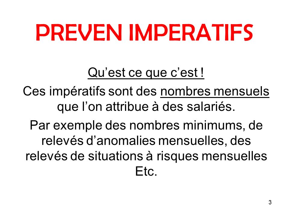 4 PREVEN IMPERATIFS