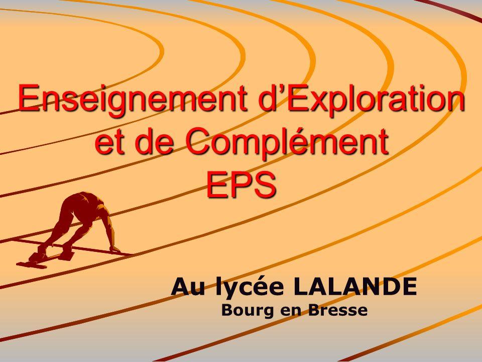 Lenseignement dexploration EPS en 2nde OBJECTIF GENERAL : Faire découvrir : de nouveaux domaines des parcours de formation et des champs professionnels, les activités professionnelles auxquelles ils correspondent.