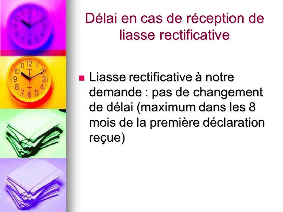 Délai en cas de réception de liasse rectificative Liasse rectificative à notre demande : pas de changement de délai (maximum dans les 8 mois de la pre