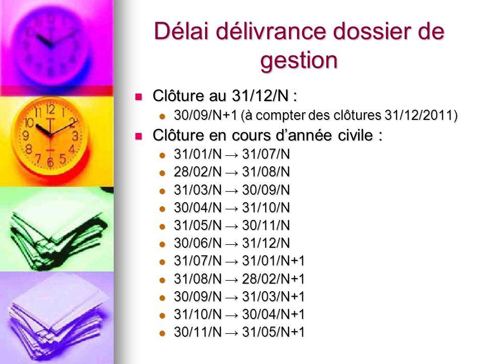 Délai délivrance dossier de gestion Clôture au 31/12/N : Clôture au 31/12/N : 30/09/N+1 (à compter des clôtures 31/12/2011) 30/09/N+1 (à compter des c