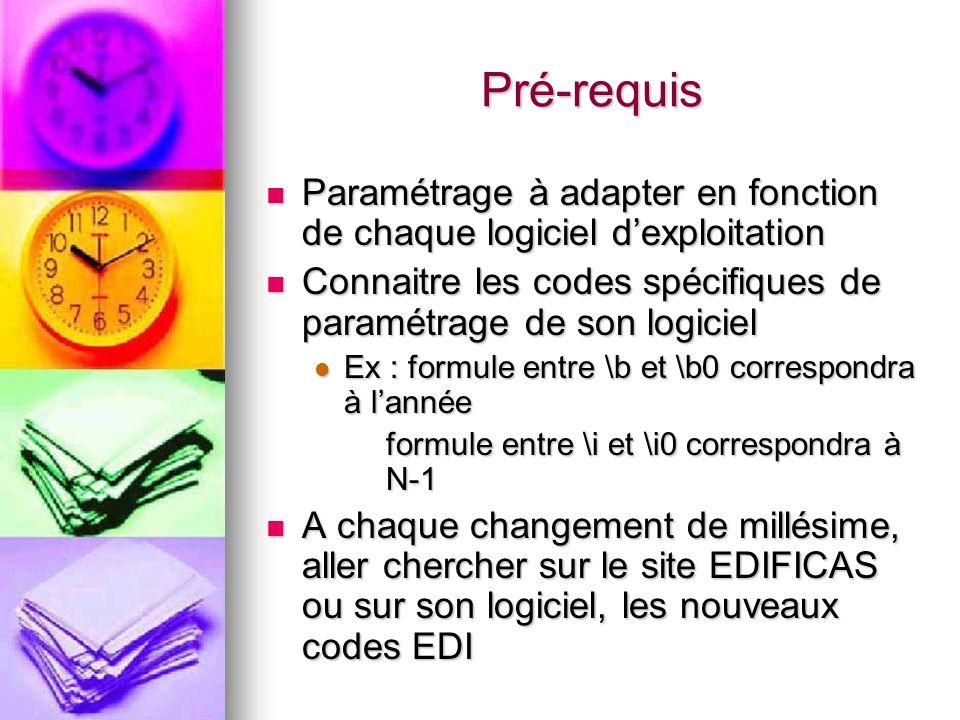 Pré-requis Paramétrage à adapter en fonction de chaque logiciel dexploitation Paramétrage à adapter en fonction de chaque logiciel dexploitation Conna