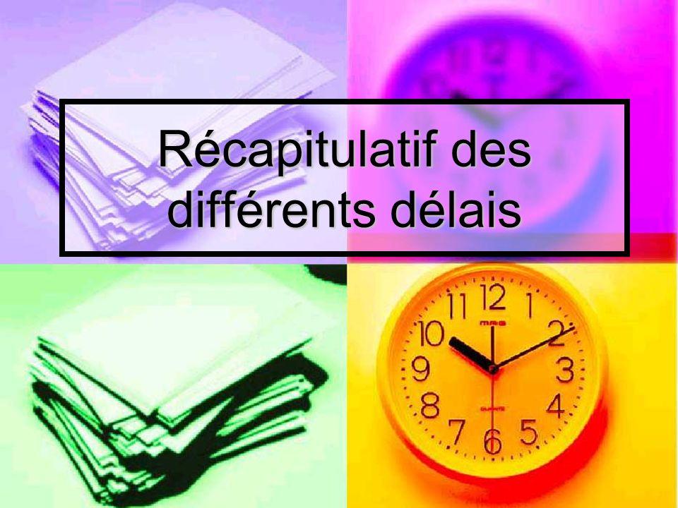 Récapitulatif des différents délais