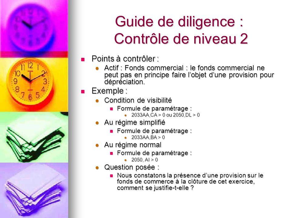 Guide de diligence : Contrôle de niveau 2 Points à contrôler : Points à contrôler : Actif : Fonds commercial : le fonds commercial ne peut pas en prin