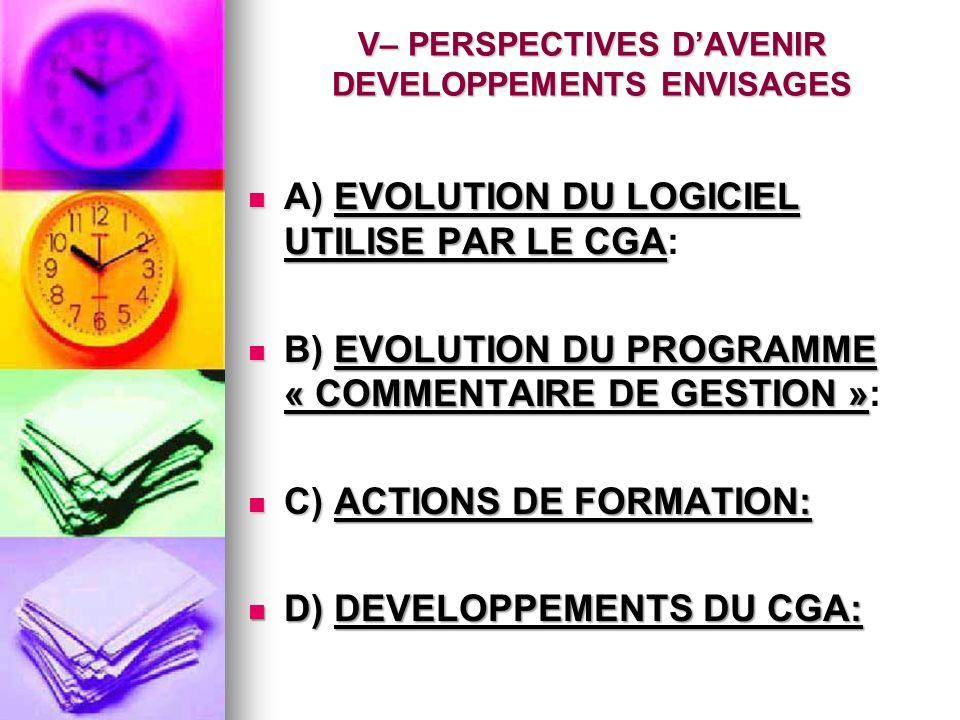 A) EVOLUTION DU LOGICIEL UTILISE PAR LE CGA: A) EVOLUTION DU LOGICIEL UTILISE PAR LE CGA: B) EVOLUTION DU PROGRAMME « COMMENTAIRE DE GESTION »: B) EVOLUTION DU PROGRAMME « COMMENTAIRE DE GESTION »: C) ACTIONS DE FORMATION: C) ACTIONS DE FORMATION: D) DEVELOPPEMENTS DU CGA: D) DEVELOPPEMENTS DU CGA: V– PERSPECTIVES DAVENIR DEVELOPPEMENTS ENVISAGES