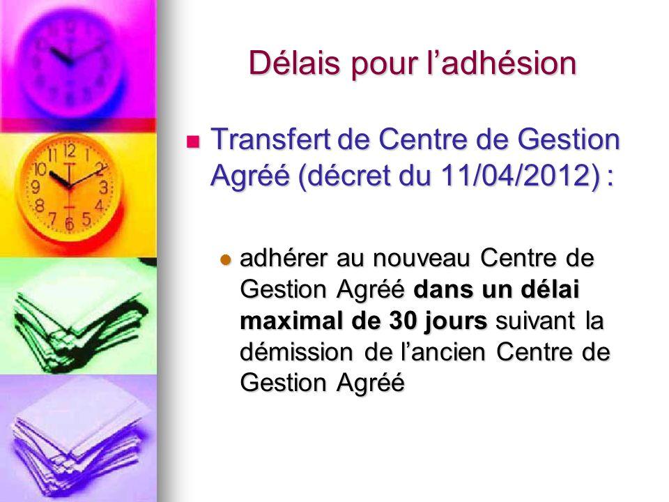 Délais pour ladhésion Transfert de Centre de Gestion Agréé (décret du 11/04/2012) : Transfert de Centre de Gestion Agréé (décret du 11/04/2012) : adhé