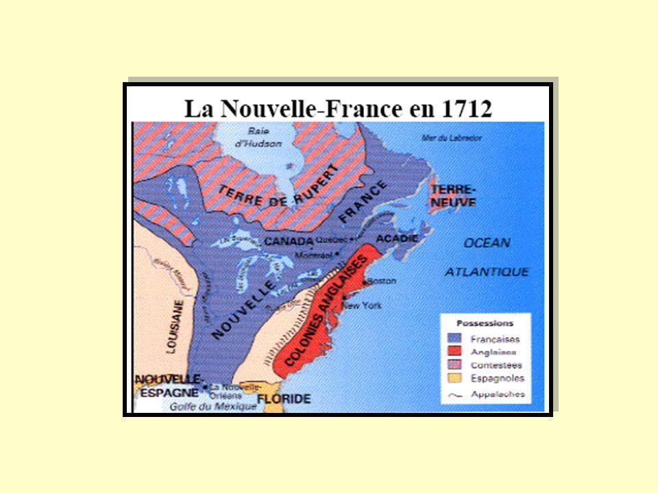 ALLIANCES FRANÇAISES ENJEUX ALLIANCES BRITANNIQUES COLONIES FRANÇAISES contre COLONIES ANGLAISES PÊCHE DE LACADIE & TERRE-NEUVE FOURRURES DES GRANDS- LACS ET BAIE-HUDSON AGRANDIR LE TERRITOIRE DES 13 COLONIES(agriculture) TRAITÉ UTRECHT 1713 AVANT 1713 CE TERRITOIRE ÉTAIT A LA FRANCE