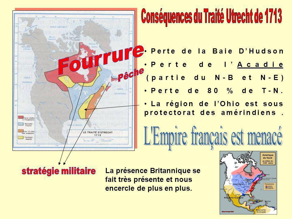 Perte de la Baie DHudson Acadie Perte de lAcadie (partie du N-B et N-E) Perte de 80 % de T-N. La région de lOhio est sous protectorat des amérindiens.