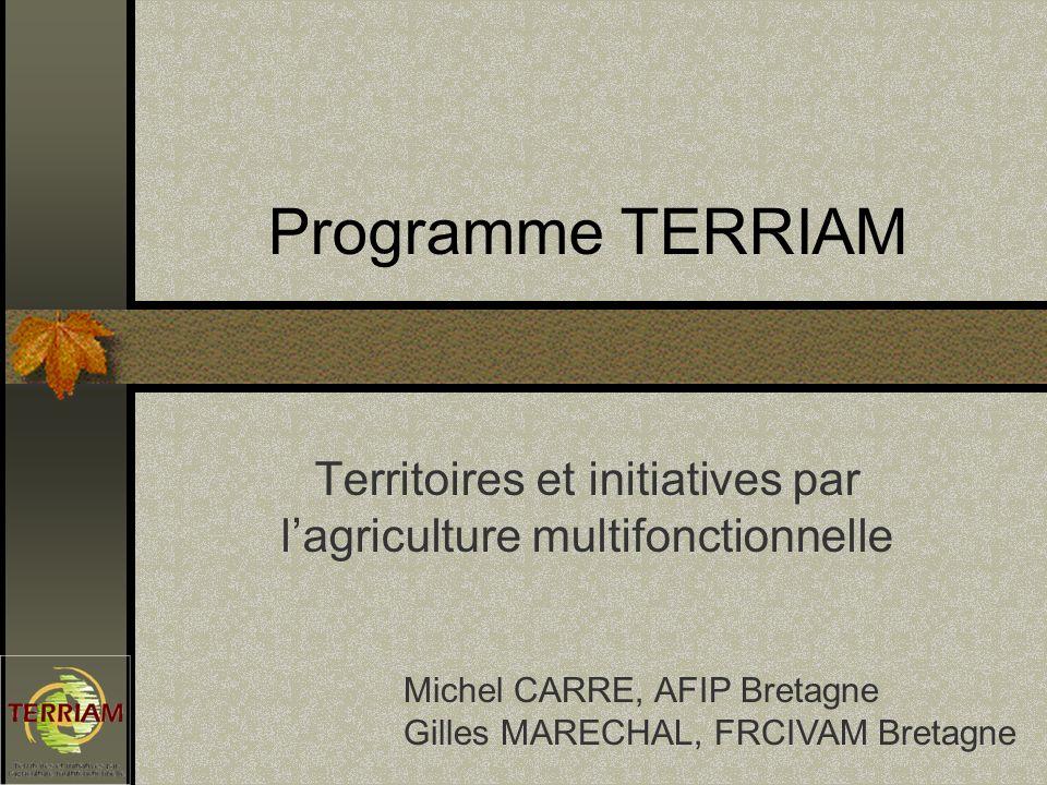 Programme TERRIAM Territoires et initiatives par lagriculture multifonctionnelle Michel CARRE, AFIP Bretagne Gilles MARECHAL, FRCIVAM Bretagne