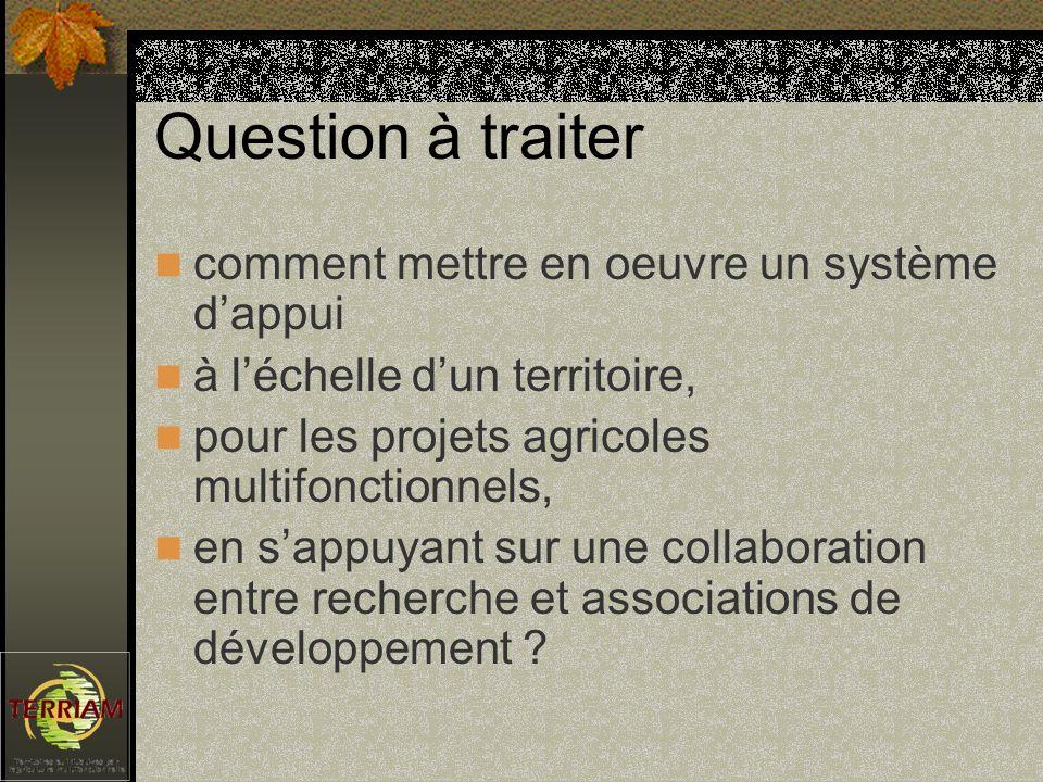 Question à traiter comment mettre en oeuvre un système dappui à léchelle dun territoire, pour les projets agricoles multifonctionnels, en sappuyant sur une collaboration entre recherche et associations de développement