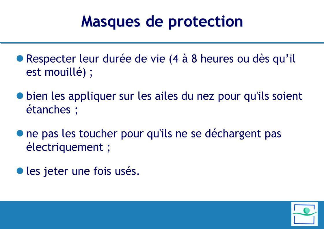 Masques de protection Respecter leur durée de vie (4 à 8 heures ou dès quil est mouillé) ; bien les appliquer sur les ailes du nez pour qu ils soient étanches ; ne pas les toucher pour qu ils ne se déchargent pas électriquement ; les jeter une fois usés.