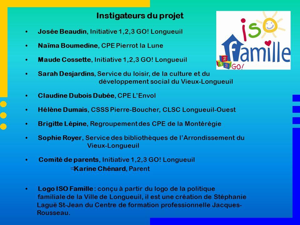 Instigateurs du projet Josée Beaudin, Initiative 1,2,3 GO! Longueuil Naïma Boumedine, CPE Pierrot la Lune Maude Cossette, Initiative 1,2,3 GO! Longueu