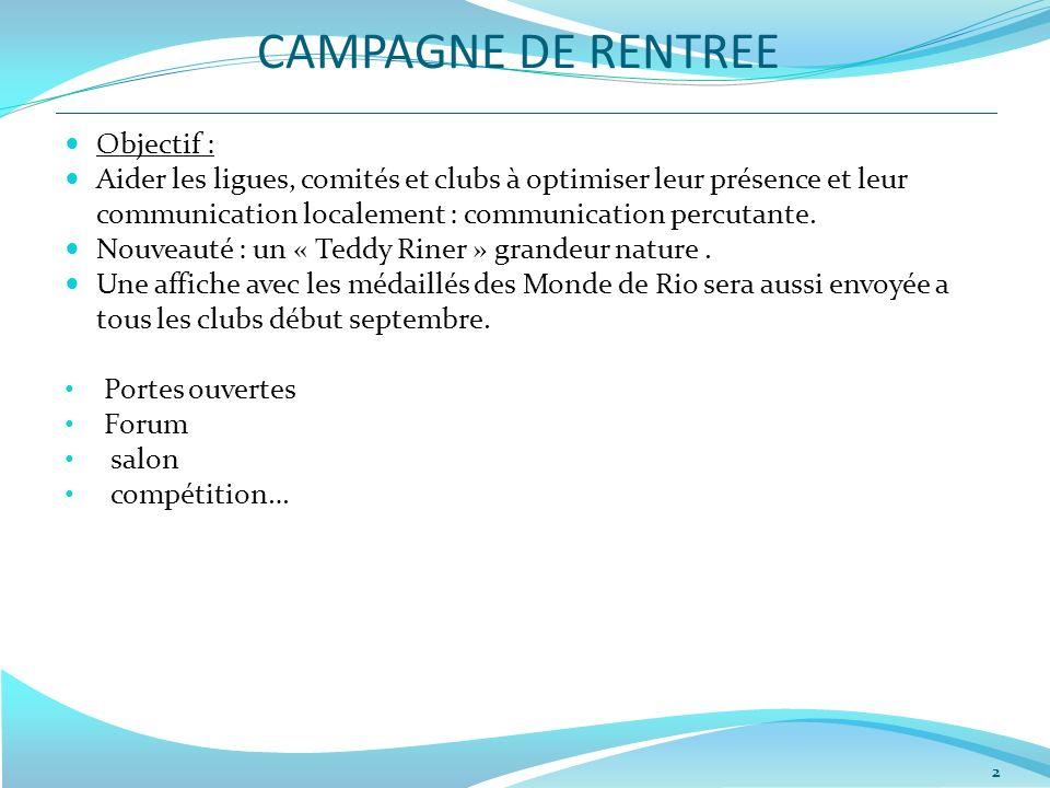 CAMPAGNE DE RENTREE 2 Objectif : Aider les ligues, comités et clubs à optimiser leur présence et leur communication localement : communication percuta