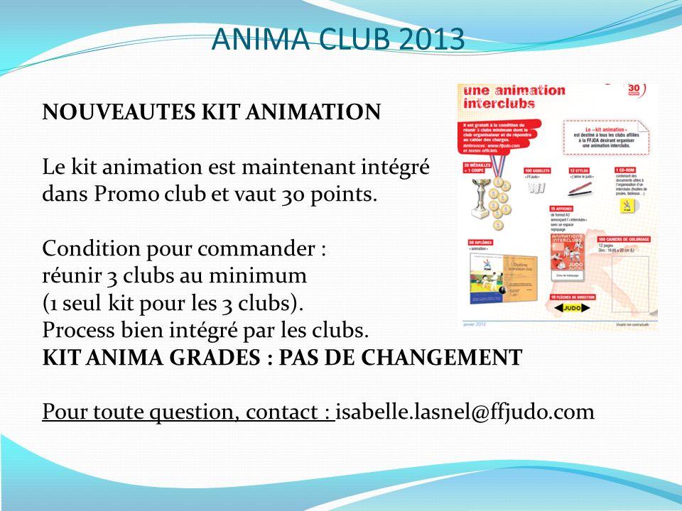 NOUVEAUTES KIT ANIMATION Le kit animation est maintenant intégré dans Promo club et vaut 30 points. Condition pour commander : réunir 3 clubs au minim