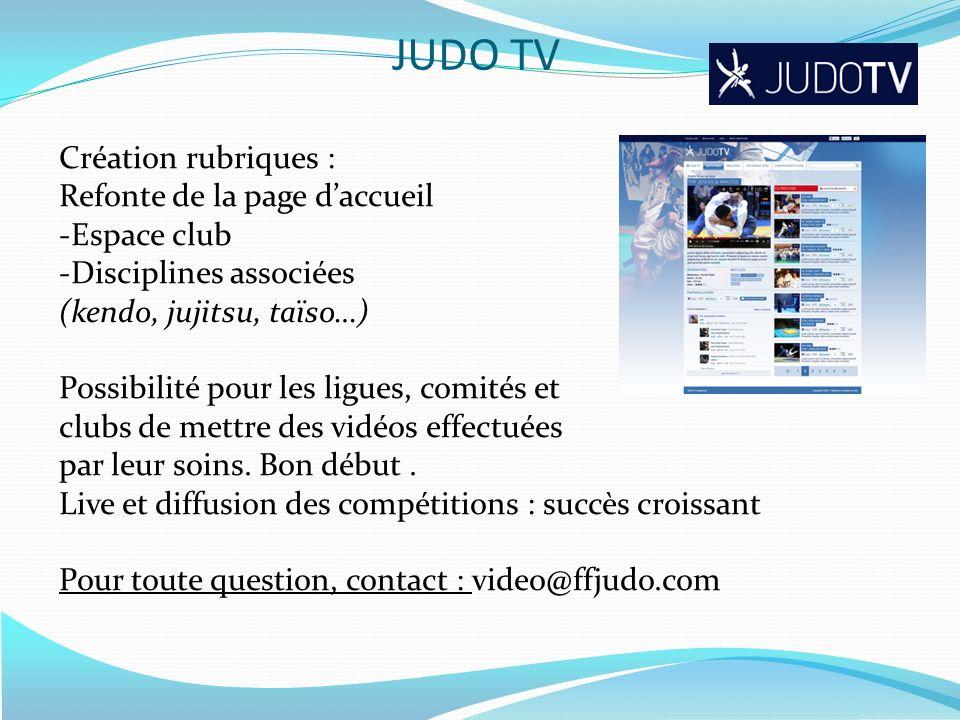 Création rubriques : Refonte de la page daccueil -Espace club -Disciplines associées (kendo, jujitsu, taïso…) Possibilité pour les ligues, comités et
