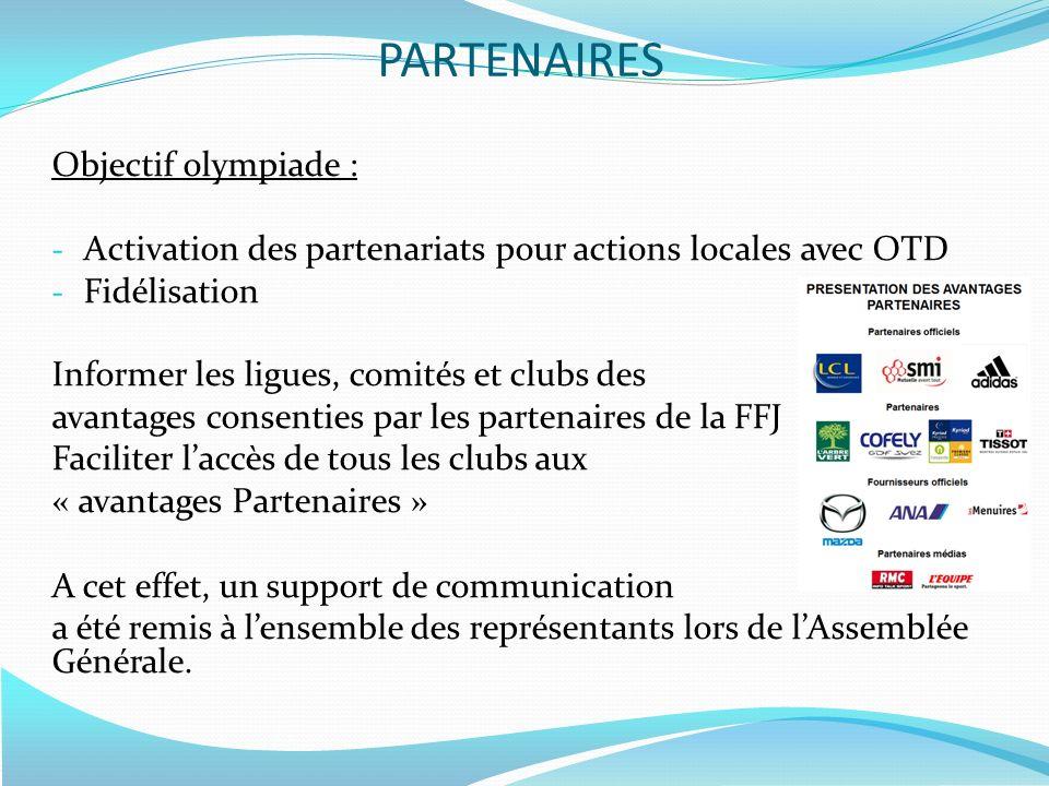 Objectif olympiade : - Activation des partenariats pour actions locales avec OTD - Fidélisation Informer les ligues, comités et clubs des avantages co