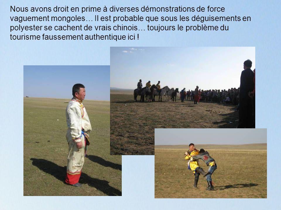 Nous avons droit en prime à diverses démonstrations de force vaguement mongoles… Il est probable que sous les déguisements en polyester se cachent de vrais chinois… toujours le problème du tourisme faussement authentique ici !