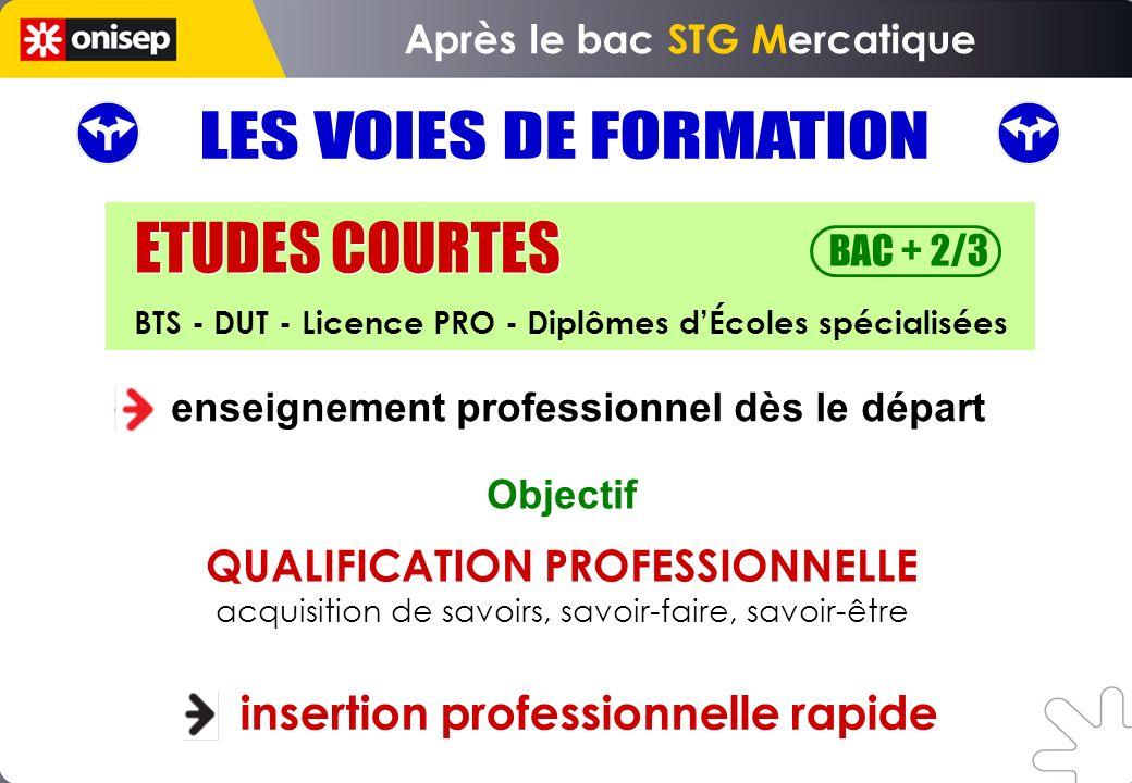 enseignement professionnel dès le départ insertion professionnelle rapide Objectif ETUDES COURTES BAC + 2/3 BTS - DUT - Licence PRO - Diplômes dÉcoles