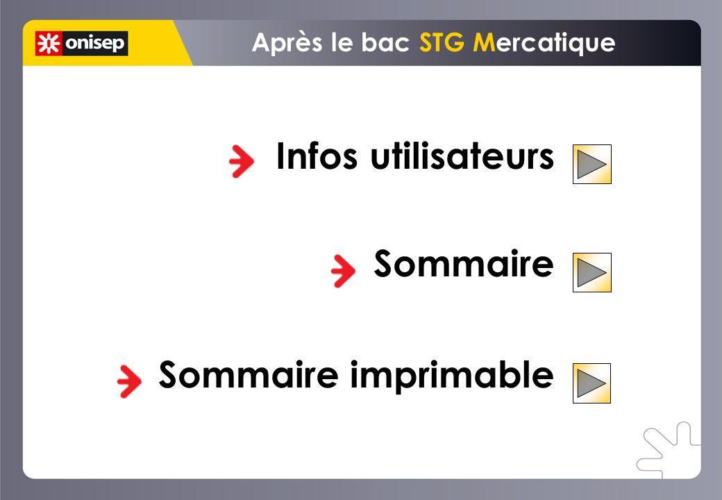 Infos utilisateurs Sommaire Sommaire imprimable Après le bac STG Mercatique