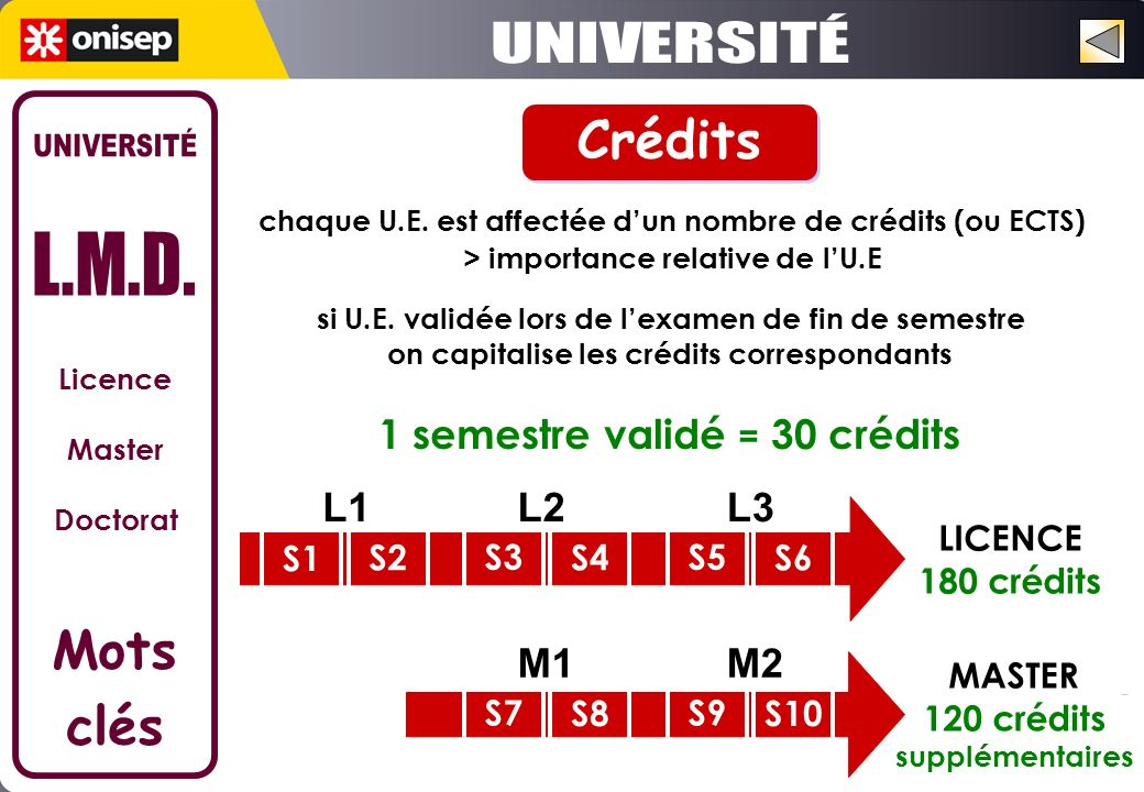 chaque U.E. est affectée dun nombre de crédits (ou ECTS) > importance relative de lU.E 1 semestre validé = 30 crédits LICENCE 180 crédits si U.E. vali